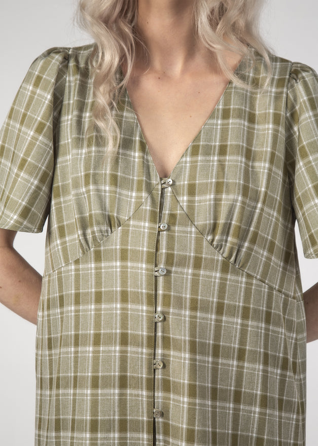 HAPPY DAYS DRESS - OLIVE CHECK