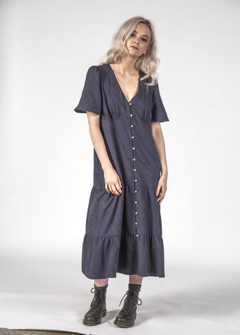 HAPPY DAYS DRESS - NAVY CRINKLE