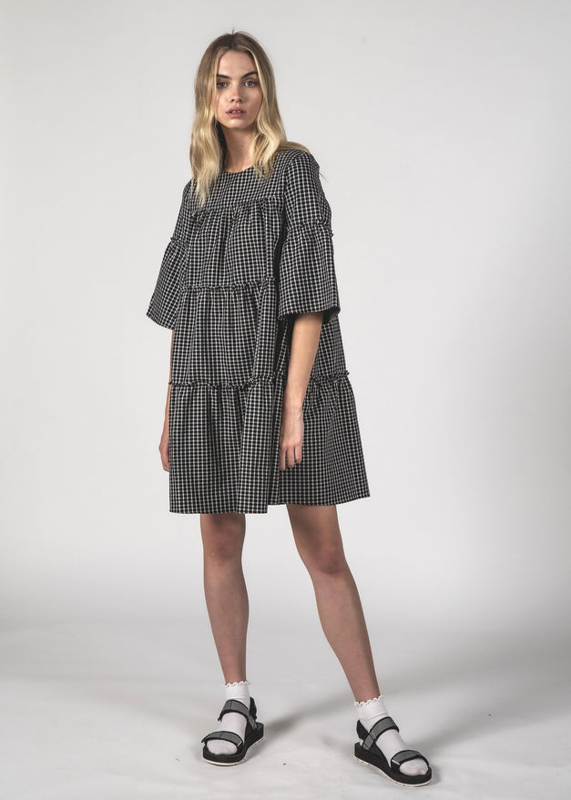 EASYGOING DRESS - Black Crosshatch