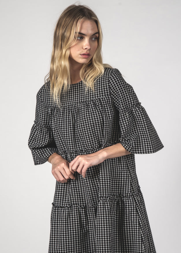THE EASY GOING DRESS - BLACK CROSSHATCH