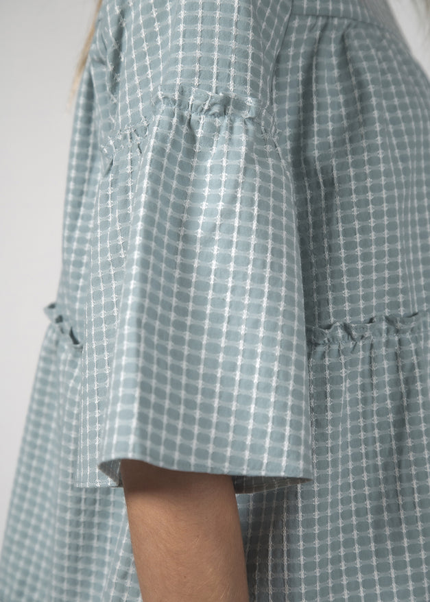 THE EASYGOING DRESS - SKY CROSSHATCH