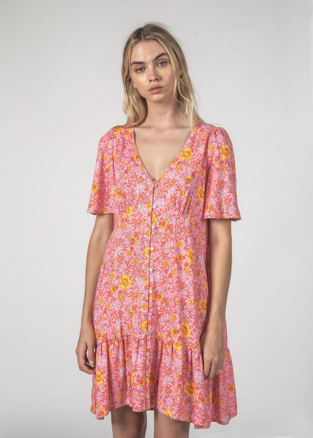 HAPPY TIMES DRESS - Floral Pink