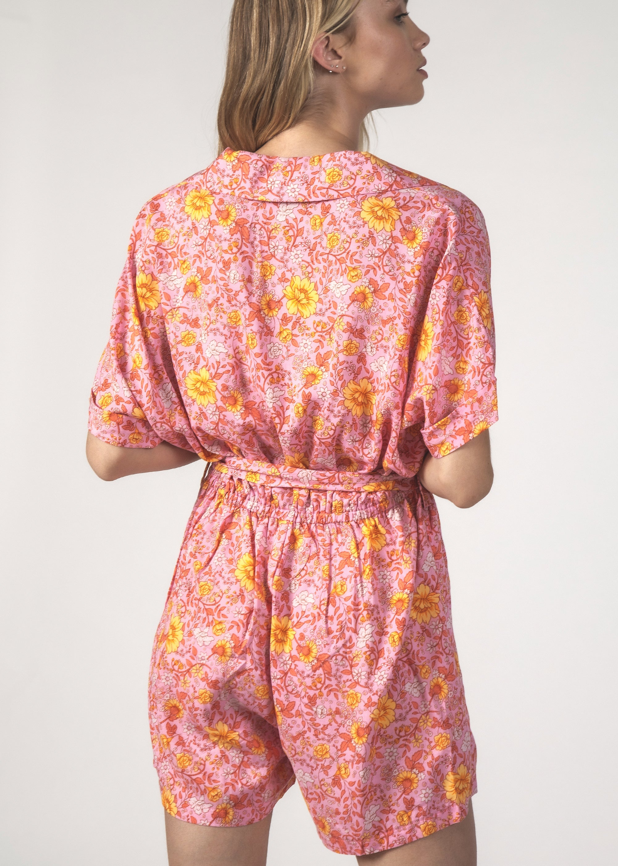 THE KITTY PLAYSUIT - FLORAL PINK