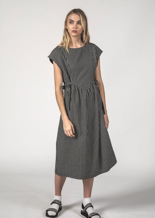 SALE - MARGOT DRESS - Black Crosshatch