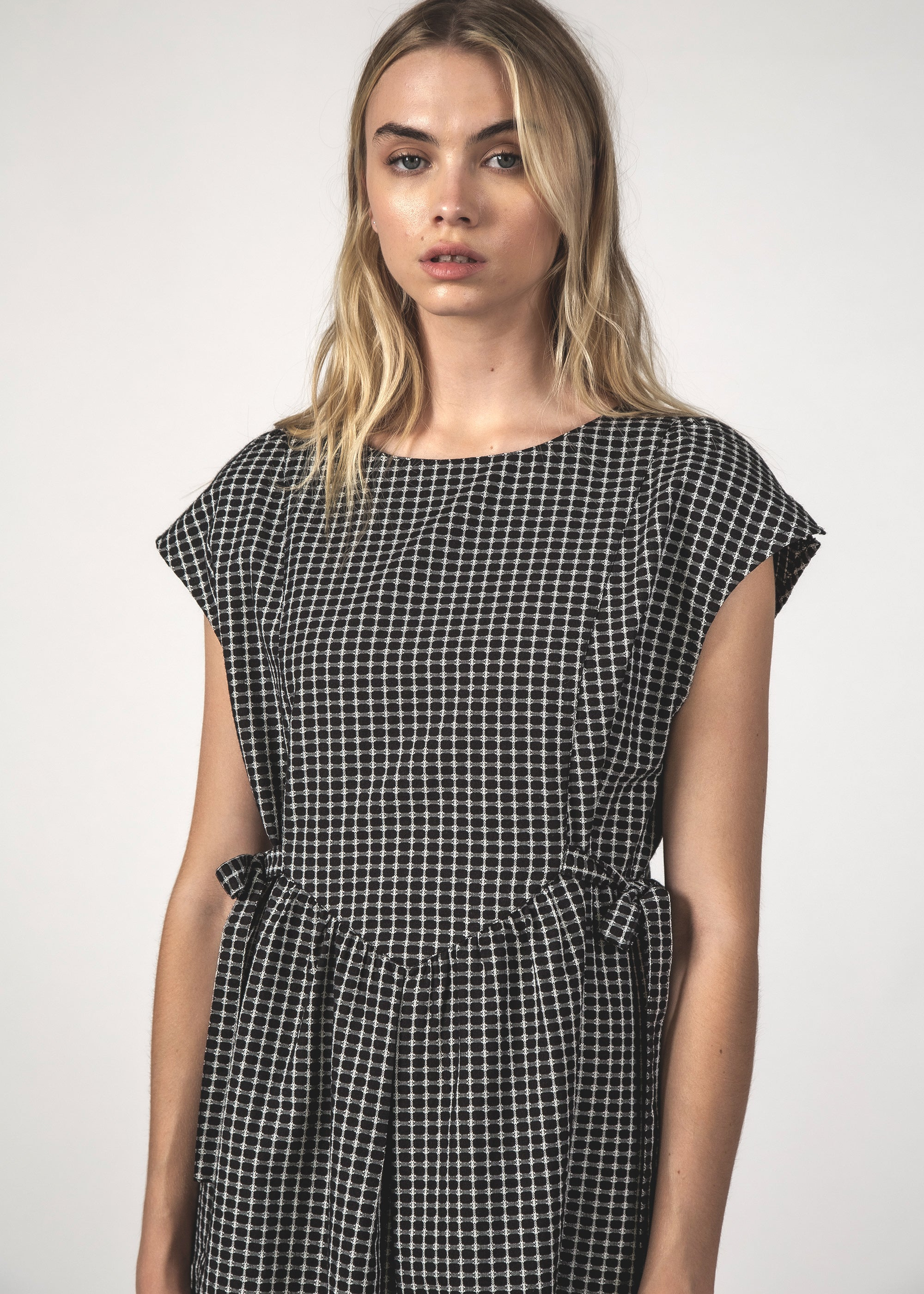 THE MARGOT DRESS - BLACK CROSSHATCH