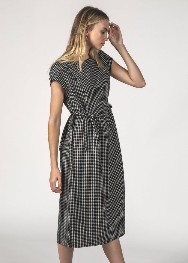 MARGOT DRESS - Black Crosshatch