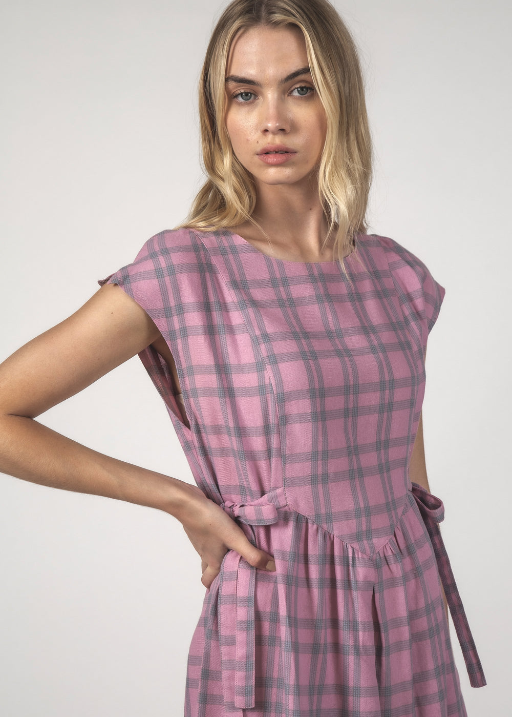 SALE - MARGOT DRESS - Blush Check