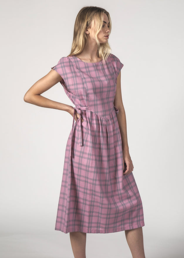 THE MARGOT DRESS - BLUSH CHECK