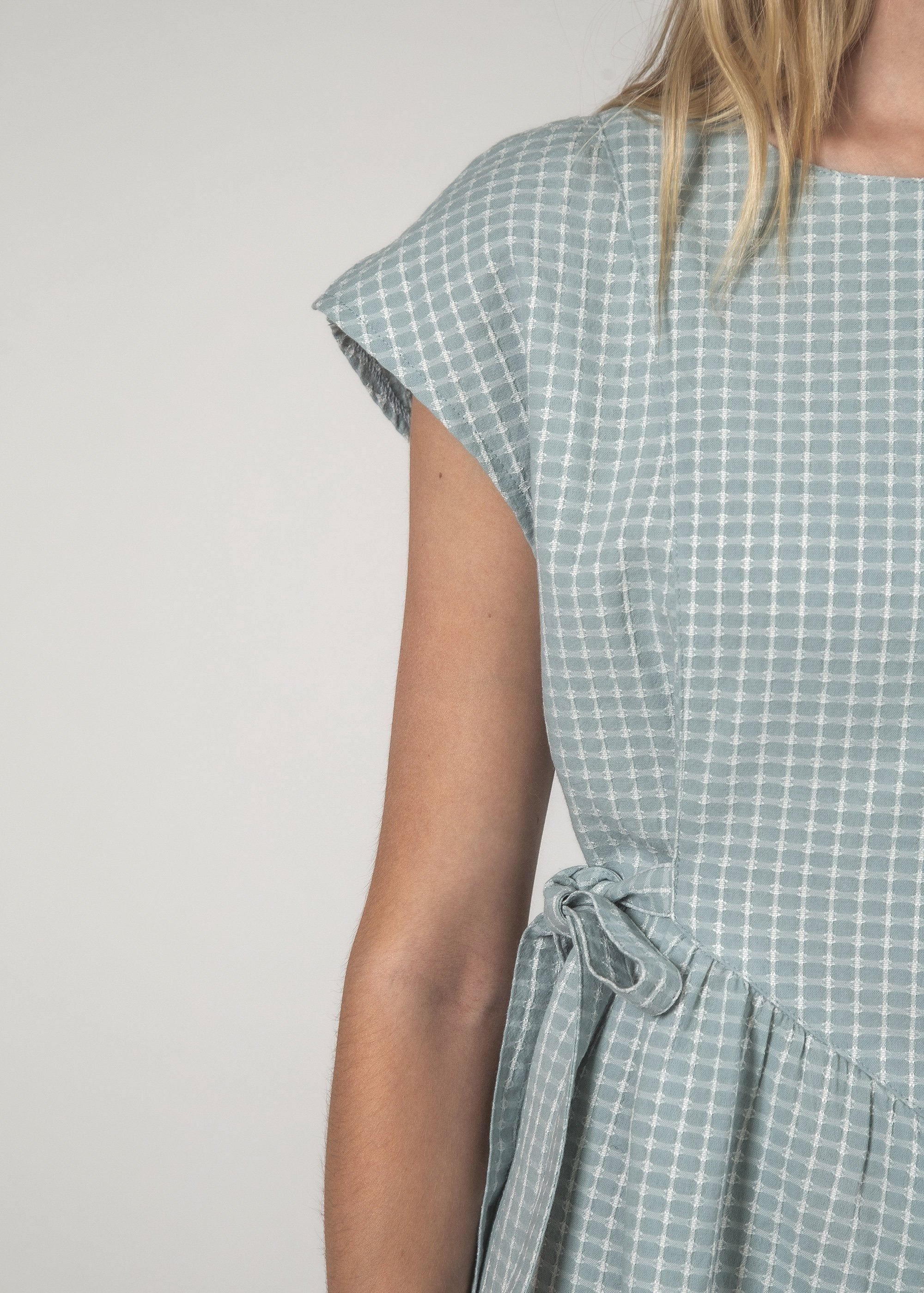 SALE - MARGOT DRESS - Sky Crosshatch