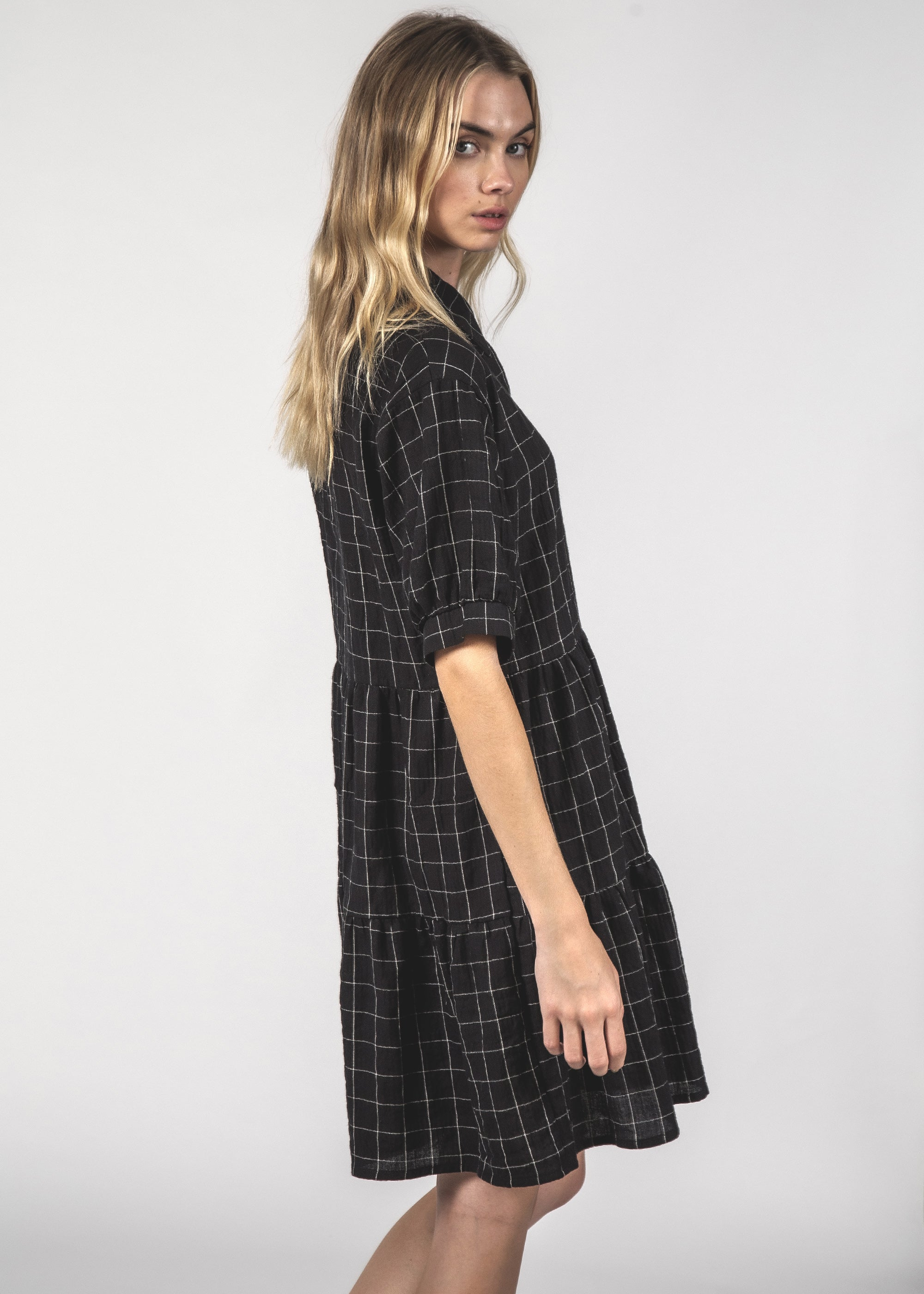THE NOVA DRESS - BLACK GRID