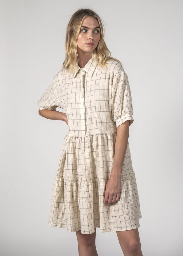 THE NOVA DRESS - CREAM GRID