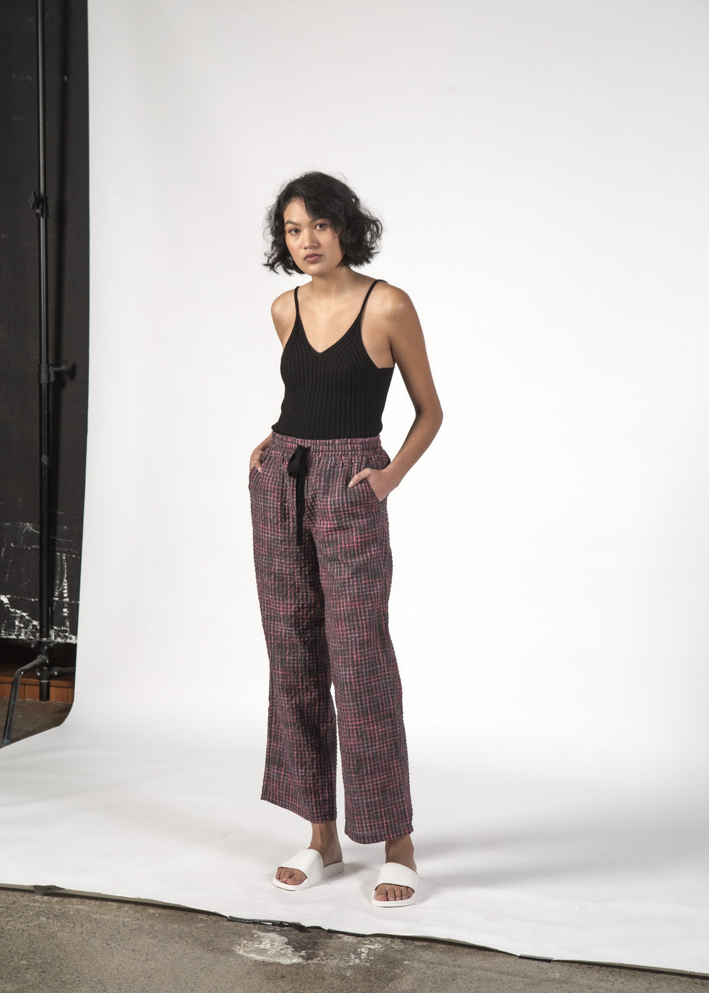 BEACH PANTS - Charcoal Check