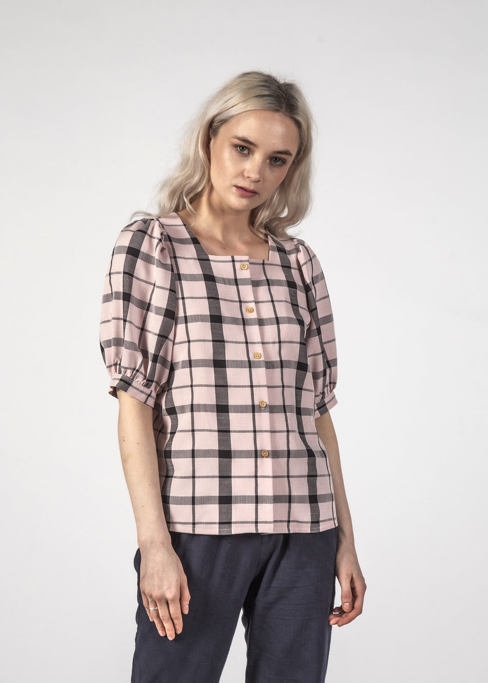 SMALL TALK TOP - PASTEL CHECK