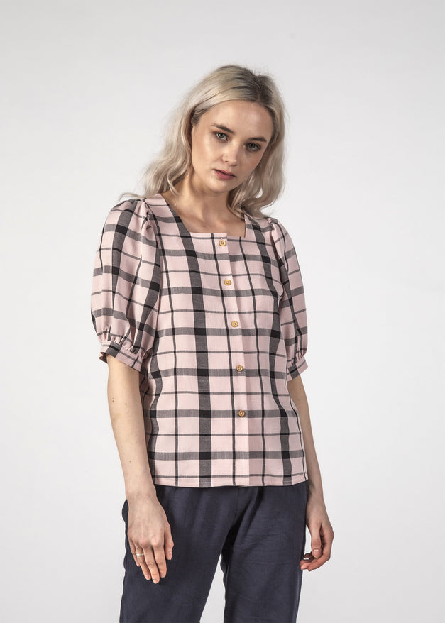 SALE - SMALL TALK TOP - Pastel Check