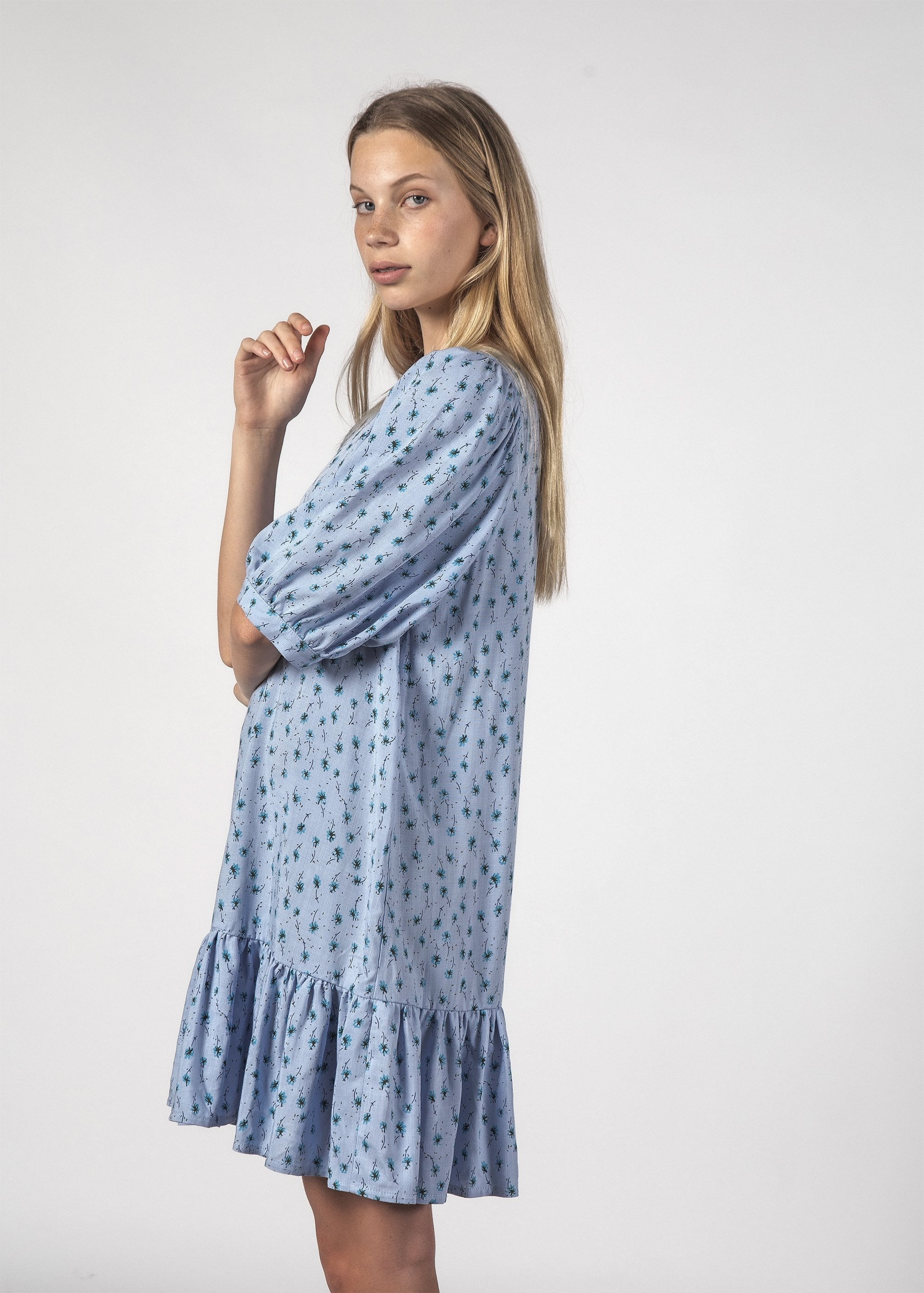 BLESSFUL DRESS - Baby Blue Ditsy