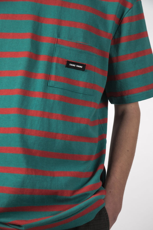 MAX POCKET TEE - Turquoise Red Stripe