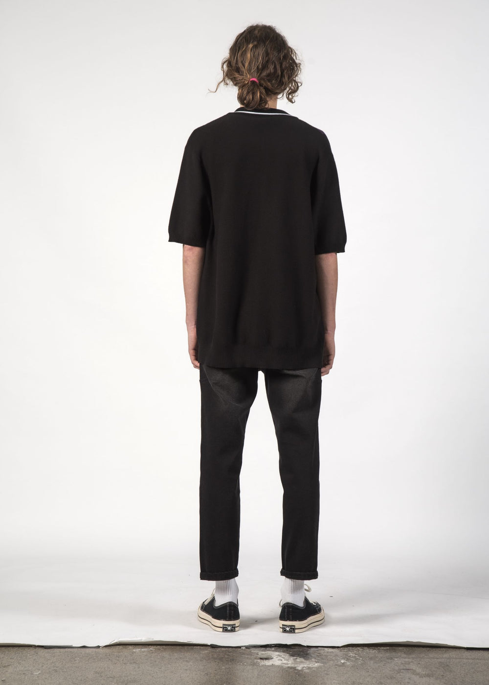 STRAY KNIT SHIRT - Black Plum