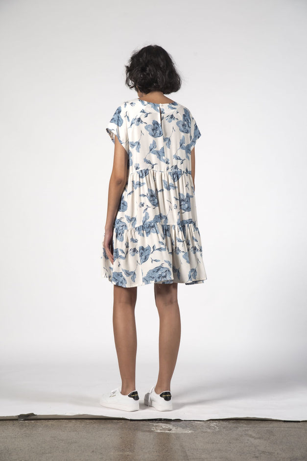 TWIRL DRESS - Floral Blue
