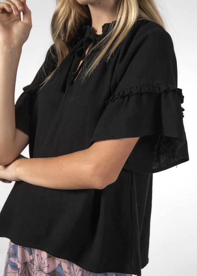 EVE TOP BLACK LINEN