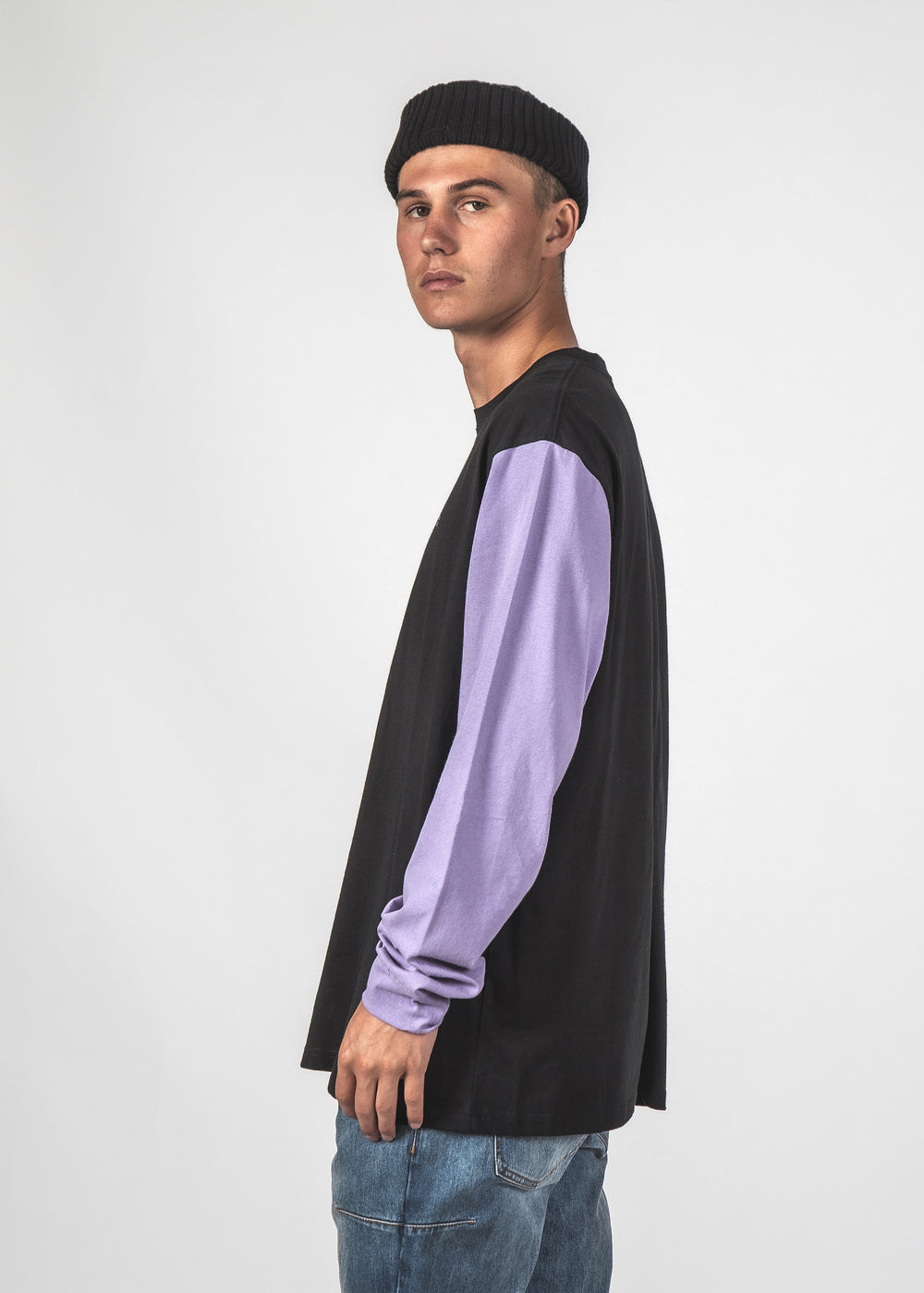 BLOCKED LS TEE - BLACK/EARTH/LAVENDER