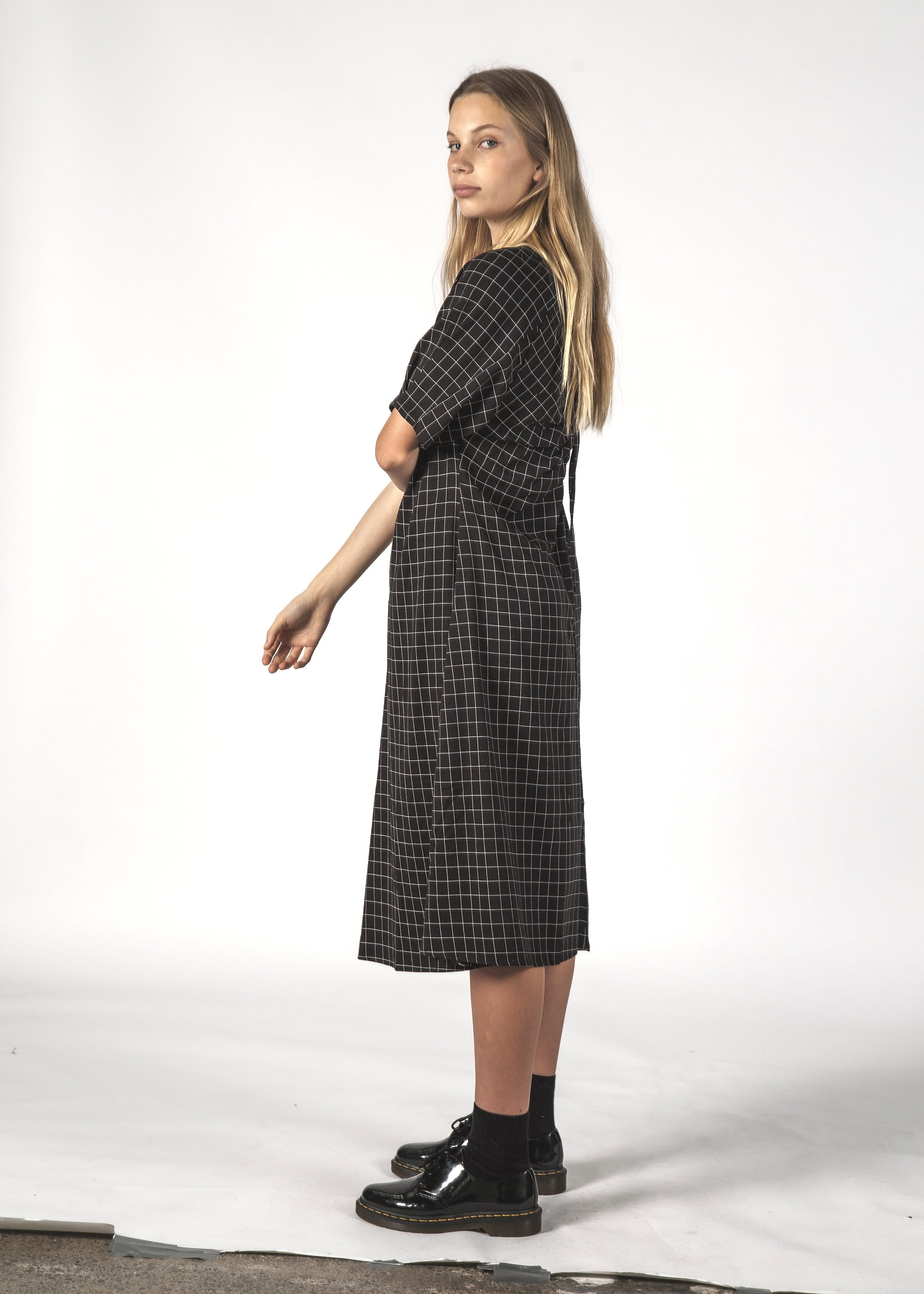 FLURRY DRESS - BLACK GRID