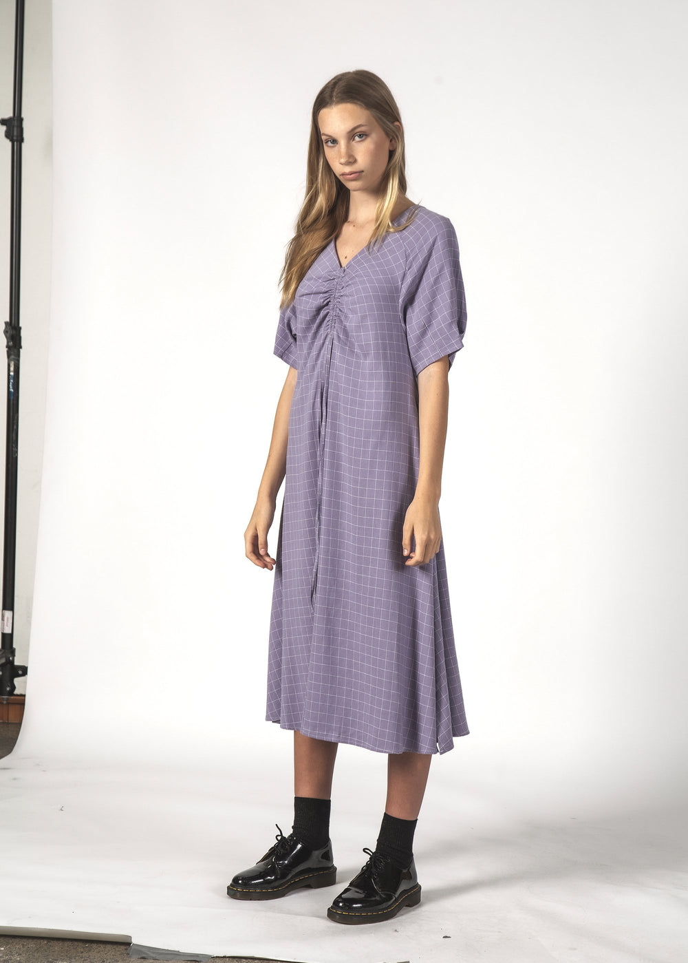 FLURRY DRESS - LAVENDER GRID