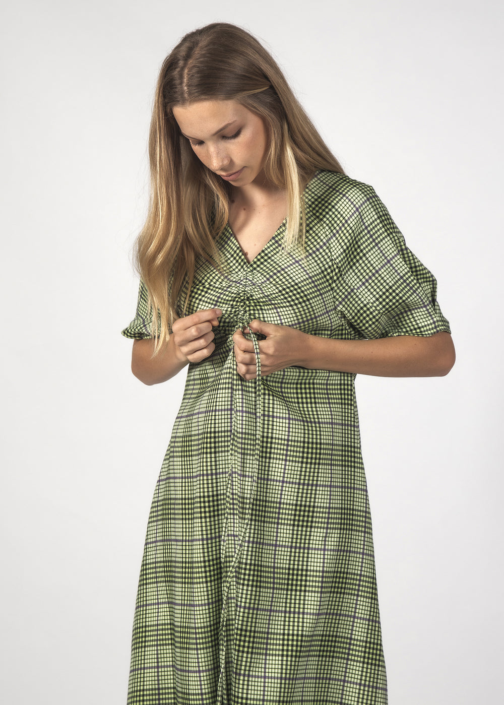 FLURRY DRESS - FLURO CHECK