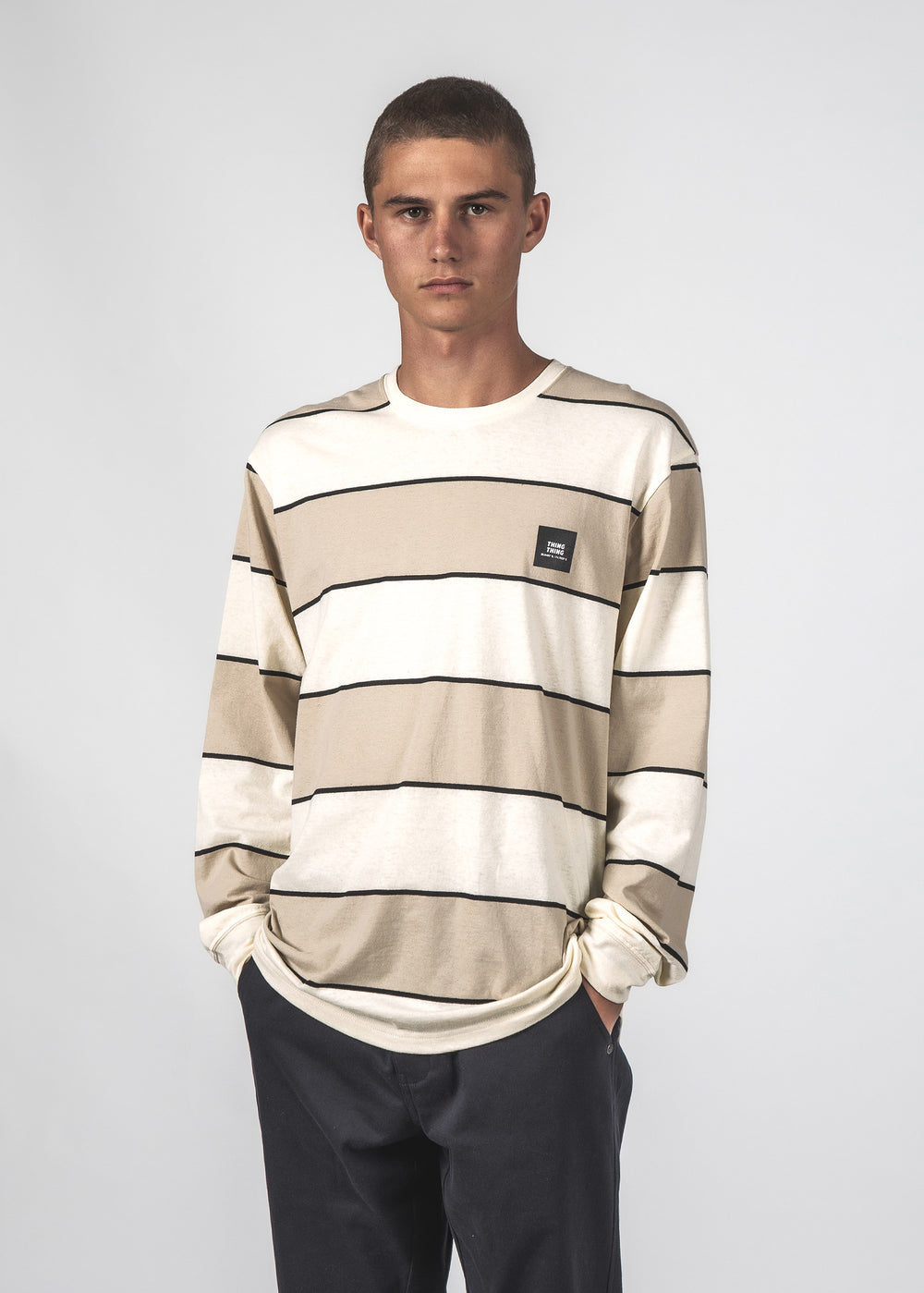 STRIPED LS TEE - CLAY BOLD