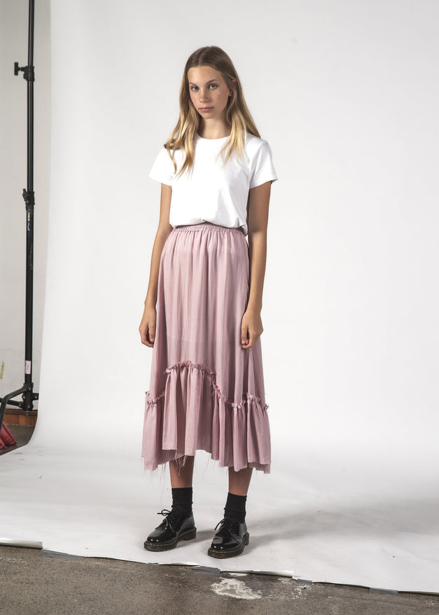 CHARLIE SKIRT - DUSTY PINK LINEN