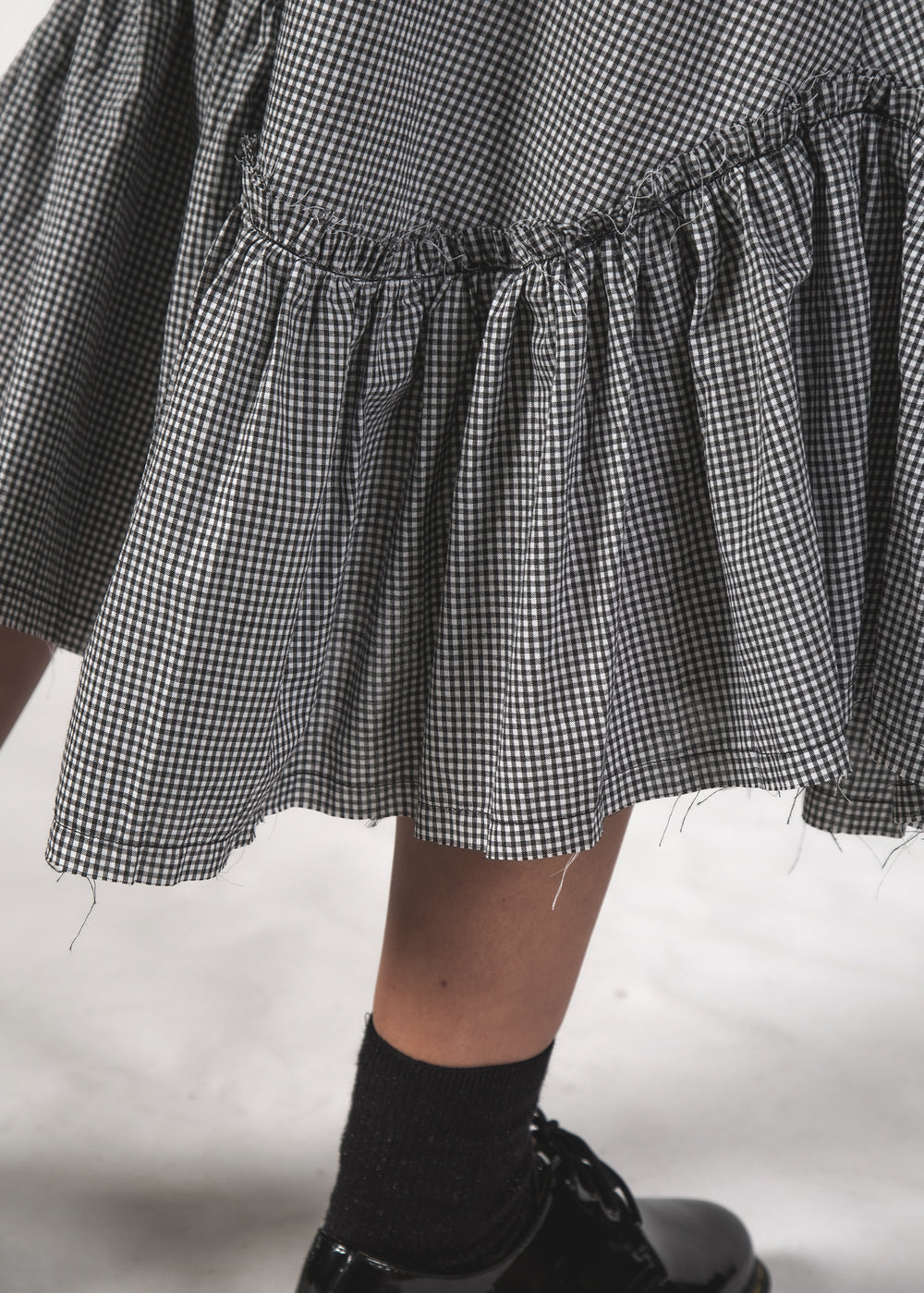 CHARLIE SKIRT - B&W MINI CHECK