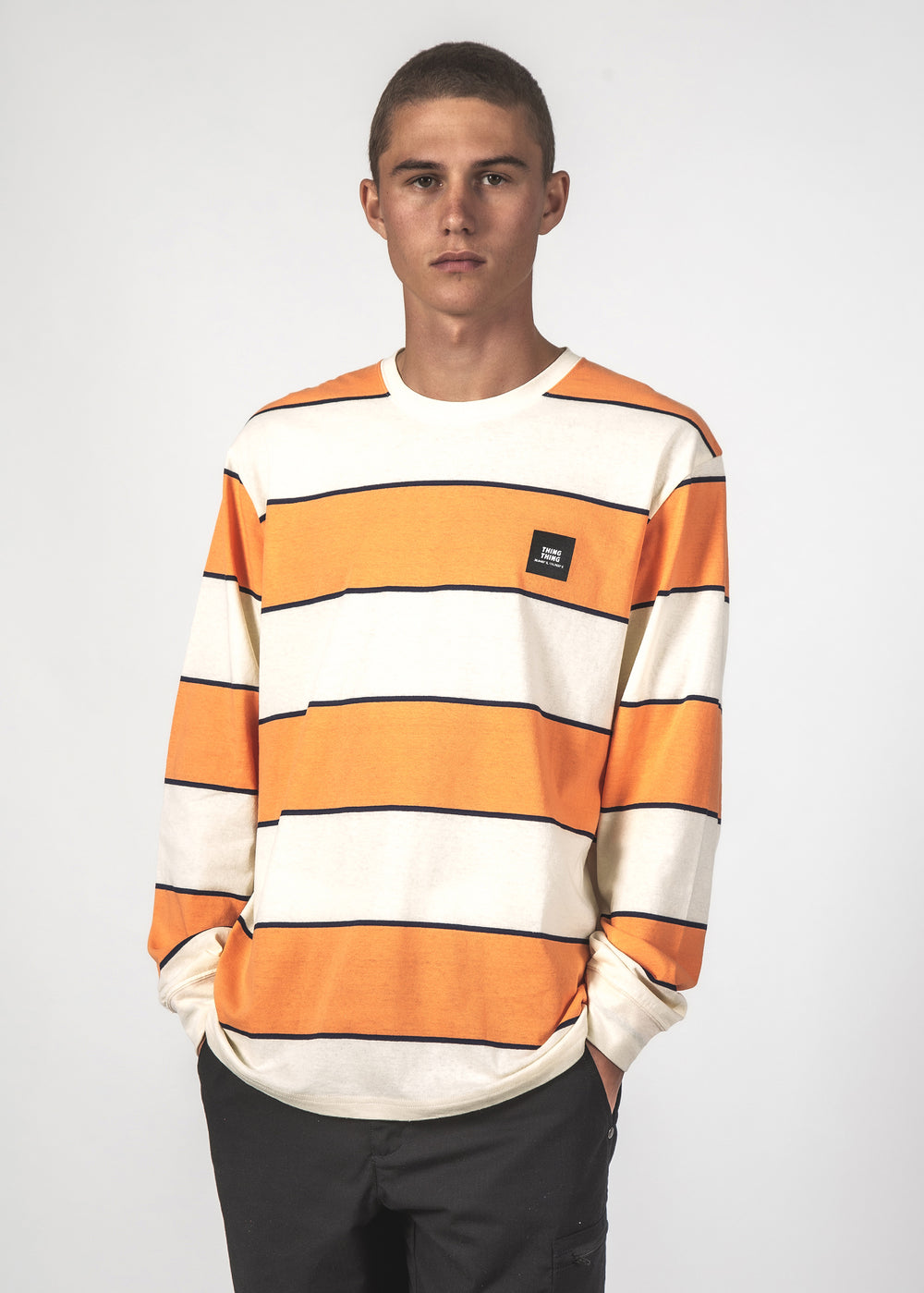 STRIPED LONG SLEEVE TEE - ATOM ORANGE