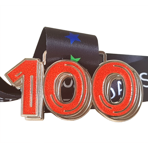 run 100 miles in a month red glitter virtual running medal