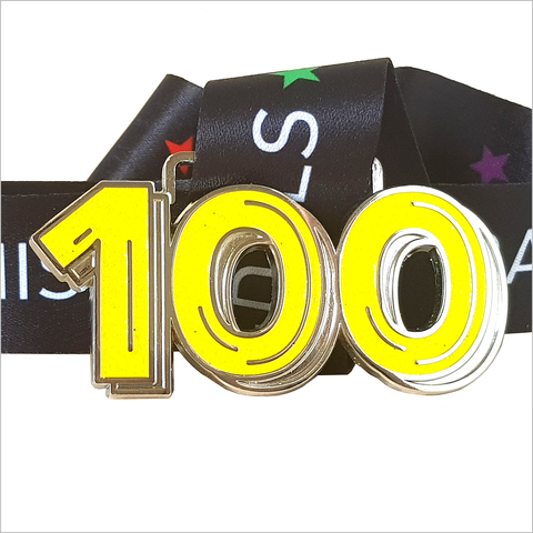run 100 miles in april yellow glitter virtual medal