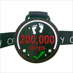 200k step challenge medal red glitter virtual run