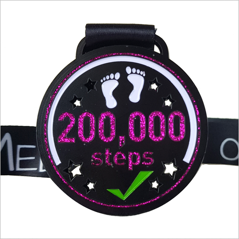 200,000 steps in a month medal virtual race