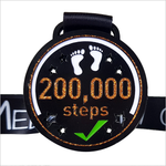 200k step challenge orange black virtual medal step count