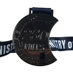 250 miles black virtual medal 2020
