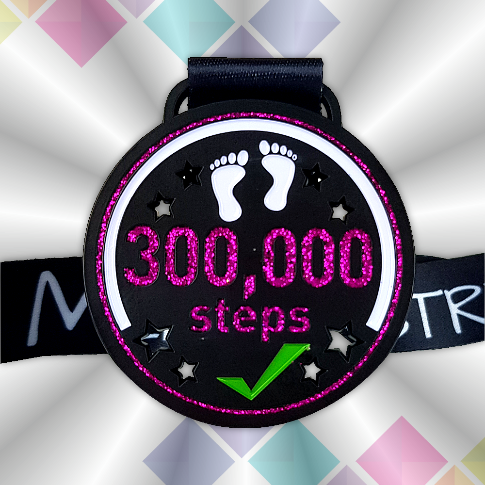 300k step count challenge virtual race medal