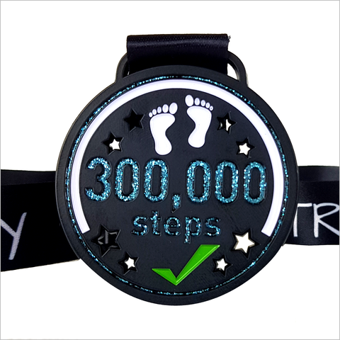 300k step challenge medal july 2019
