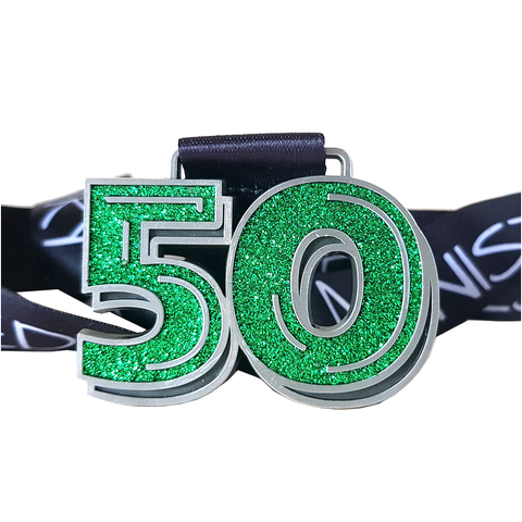 50 miles in may green glitter virtual challenge medal