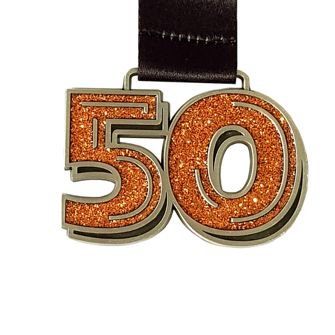50 miles in march orange glitter virtual running medal