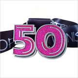 50 kms in a month purple glitter virtual running medal