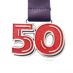 50 miles in a month red glitter virtual race medal