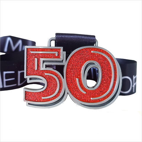 50 kms in a month red glitter virtual running medal