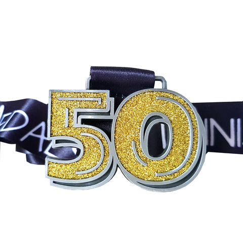 50 miles in a month gold glitter virtual race medal