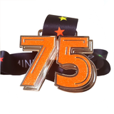 75 miles in a month virtual running medal orange glitter