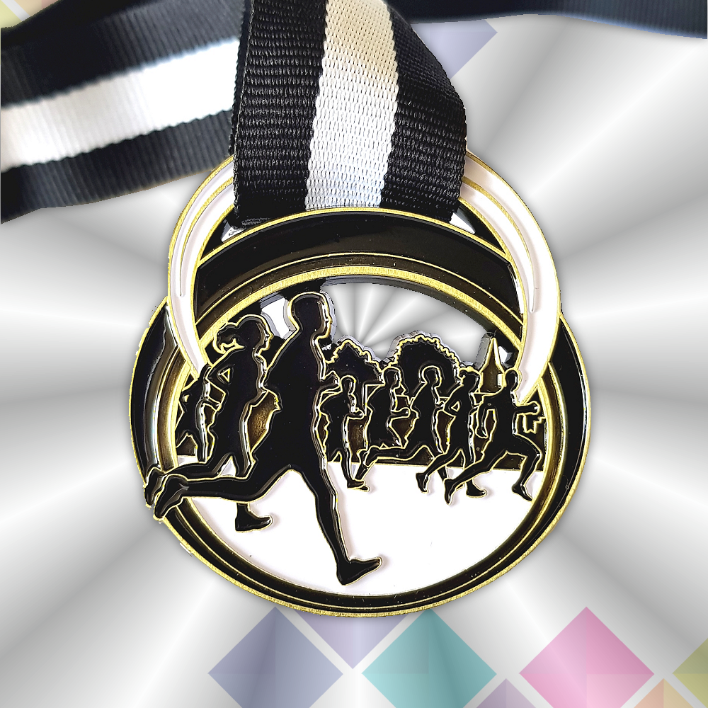black and white virtual race medal