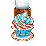 will run for cake blue red virtual event medal