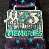 5 miles of memories virtual running medal green glitter