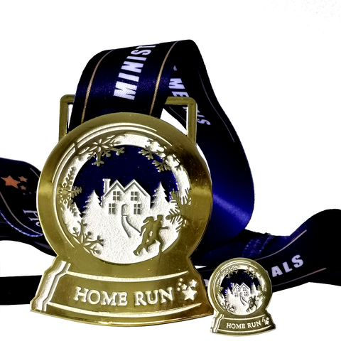 snow globe blue and gold glitter virtual running medal
